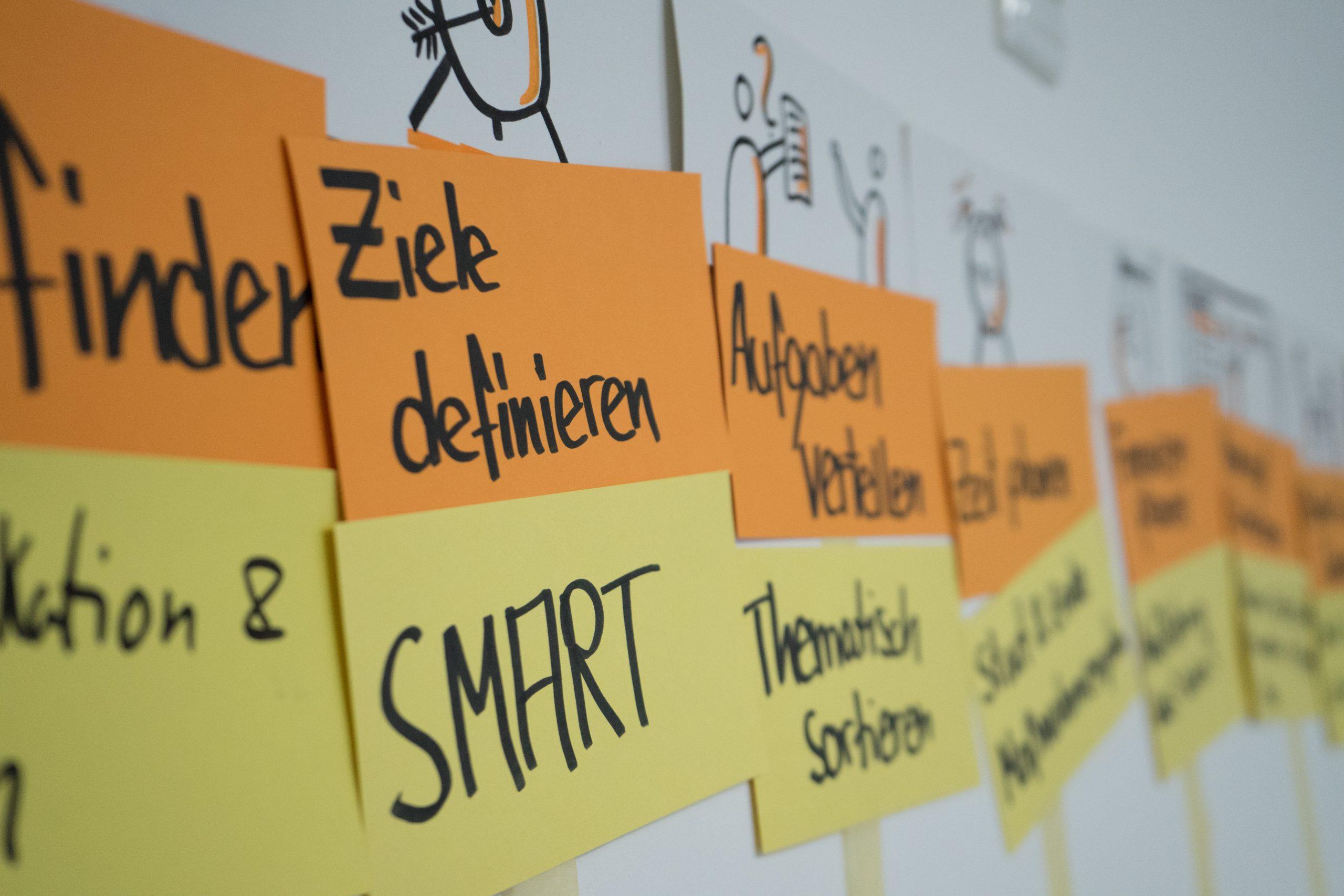 """Auf dem Bild sind viele Moderationskarten zum Thema Projektmanagement an eine Wand gepinnt. Auf zwei deutlich erkennbaren Moderationskarten steht """"Ziele definieren"""" und """"Smart"""". © Servicestelle Jugendbeteiligung e.V., 2019"""