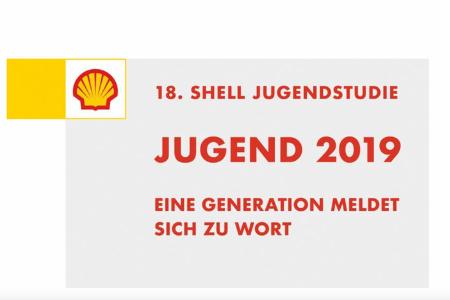 """Titelbild der 18. Shell Jugendstudie """"Jugend 2019, eine Generation meldet sich zu Wort."""" Oben links ist das Logo von Shell zusehen."""