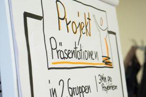 """Das Bild zeigt ein schön gestaltetes Flipchart, auf dem groß die Überschrift """"Projektpräsentation"""" steht. © Servicestelle Jugendbeteiligung e. V., 2019"""