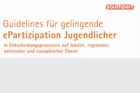 """Titelbild von: """"Guidelines für gelingende ePartizipation Jugendlicher in Entscheidungsprozessen auf lokaler, regionaler, nationaler und europäischer Ebene."""" . Oben rechts ist das Logo von youthpart zu sehen."""