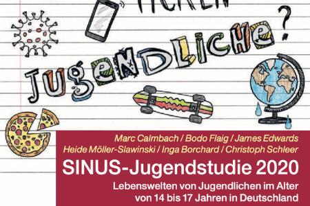 """Titelbild von: """"SINUS-Jugendstudie 2020, Lebenswelten von Jugendlichen im Alter von 14 bis 17 Jahren in Deutschland."""" Im Hintergrund ist ein Liniertes Blatt zu sehen auf dem verschiedene Symbole gezeichnet worden."""