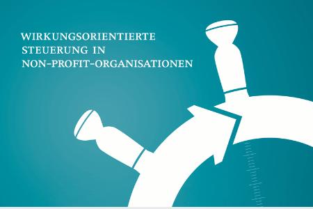 """Titelbild: """"Wirkungsorientierte Steuerung in Non-Profit-Organisationen"""". Unten rechts ist ein Steuerrad zu sehen."""