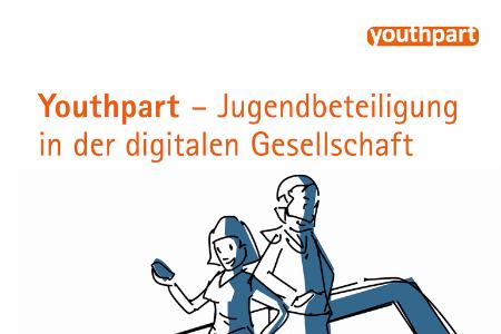"""Titelbild von: """"Youthpart- Jugendbeteiligung in der digitalen Gesellschaft"""". Oben rechts ist das Logo von youthpart zu sehen. Unten sind zwei Personen gezeichnet abgebildet. Eine Person hält ein Smartphone in der Hand."""