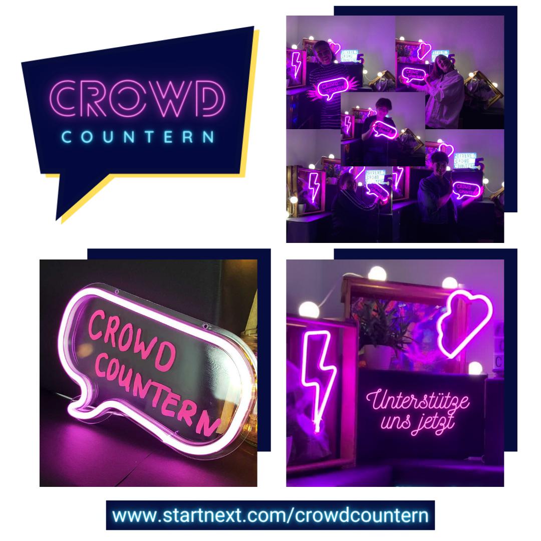 """Oben links ist das Logo von Crowd Countern abgebildet. Oben rechts ist eine Zusammenstellung von fünf verschiedenen Menschen zu sehen. Unten links ist die pink leuchtende Sprechblase mit dem Schriftzug """"Crowd Countern"""" zu erkennen. Und unten links ist ein Ausschnitt der Filmkulisse mit dem Schriftzug """"Unterstütze uns jetzt"""" zu sehen. Unterhalb des Fotos ist """"www.startnext.com/crowdcountern"""" notiert."""