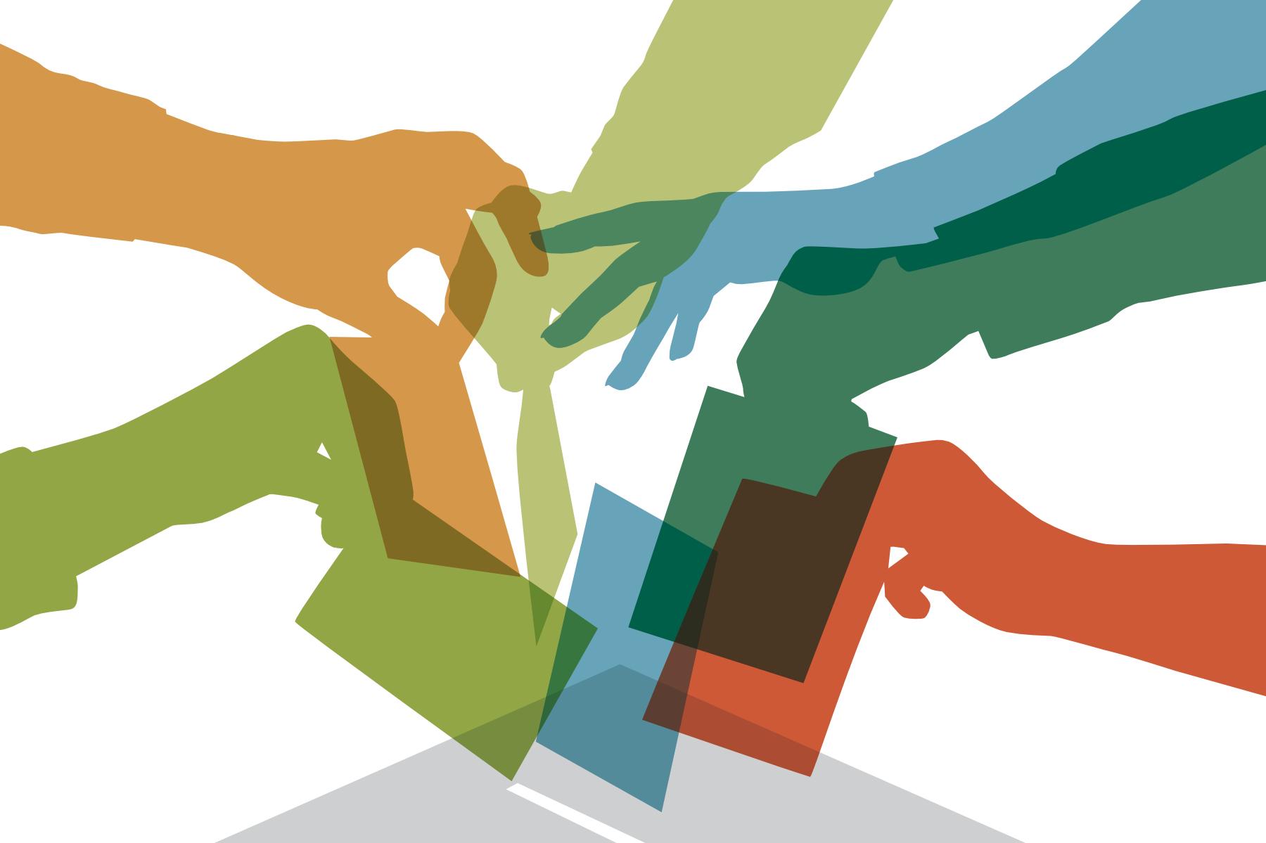 """Eine Grafik mit vielen Bunten Händen, die Wahlzettel in eine Urne werfen. Darunter steht: """"Du darfst das erste Mal wählen? Werde Erstwahlhelfer*in!"""" © Haus Rissen, 2021"""