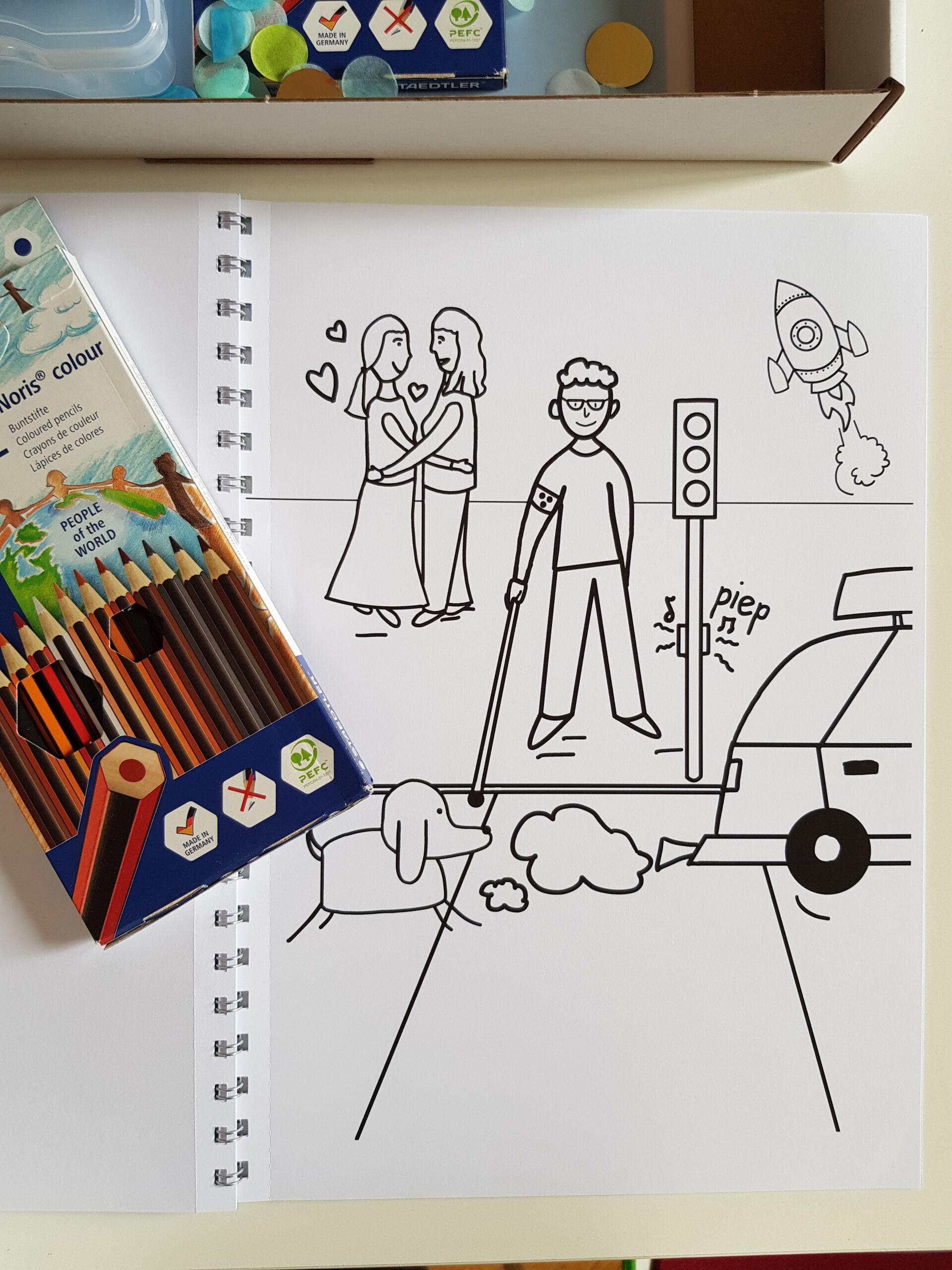 Das Bild zeigt eine Malvorlage, auf der ein Junge mit Blindenstock an einer Verkehrsampel steht. Im Hintergrund sind zwei Frauen zu sehen, die sich umarmen. Über ihnen sind zwei Herzen abgebildet. Im Vordergrund ist ein fahrendes Auto und ein Hund zu erkennen. © Servicestelle Jugendbeteiligung e.V., 2021