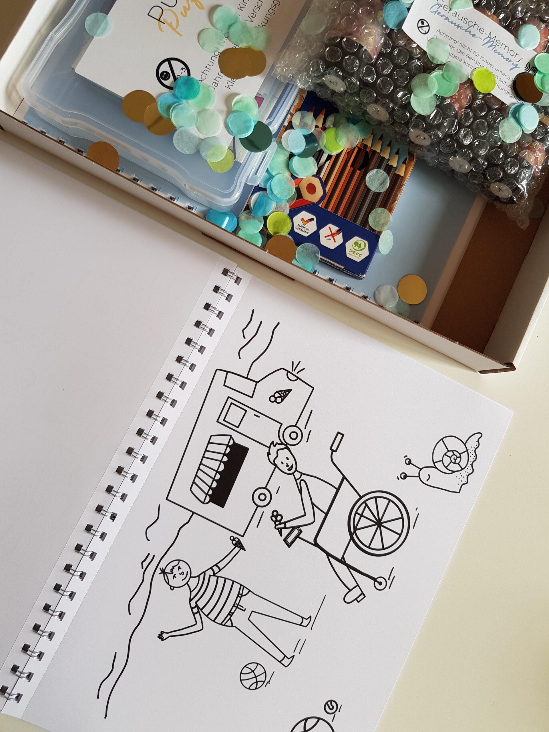 Das Bild zeigt eine weitere Malvorlage. Im Vordergrund sind zwei Menschen zu sehen, die gemeinsam vor einem Eiswagen Eis essen. Eine Person sitzt in einem Rollstuhl. © Servicestelle Jugendbeteiligung e.V., 2021